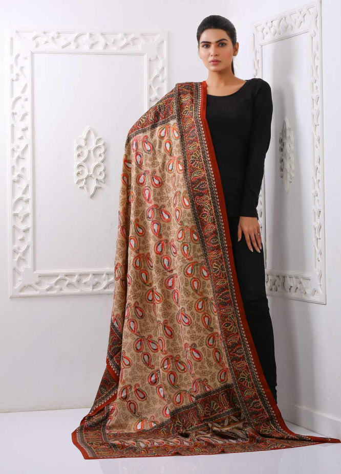 Sanaulla Exclusive Range Embroidered Pashmina  Shawl PMSH 323993 - Pashmina Shawls