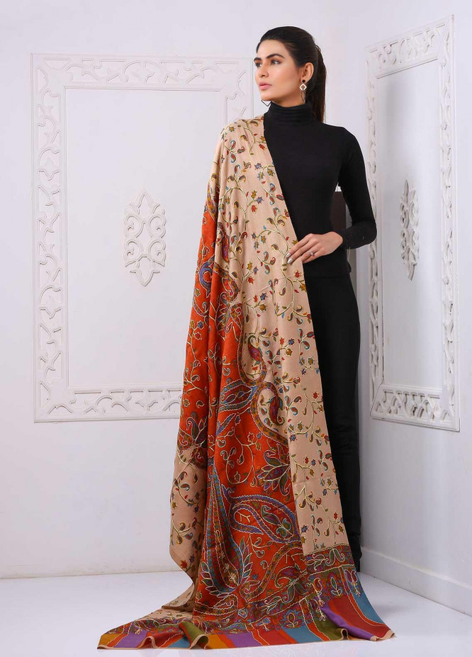 Sanaulla Exclusive Range Printed and Embroidered Pashmina  Shawl PMSHM 323948 - Pashmina Shawls