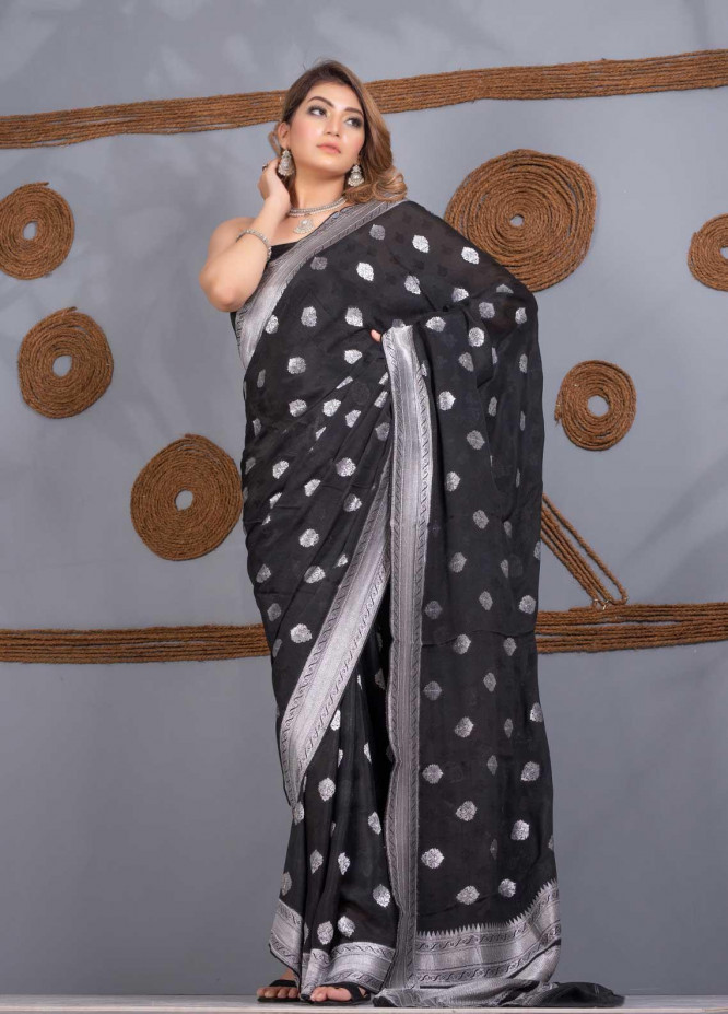 Al Rahim Banarsi Embroidered Chiffon Unstitched Saree AR21BP 1267 BLACK - Festive Collection