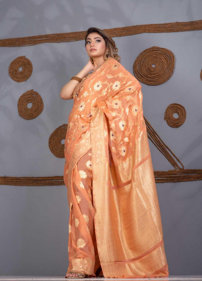 Al Rahim Banarsi Embroidered Chiffon Unstitched Saree AR21BP RC 1306 PEACH - Festive Collection