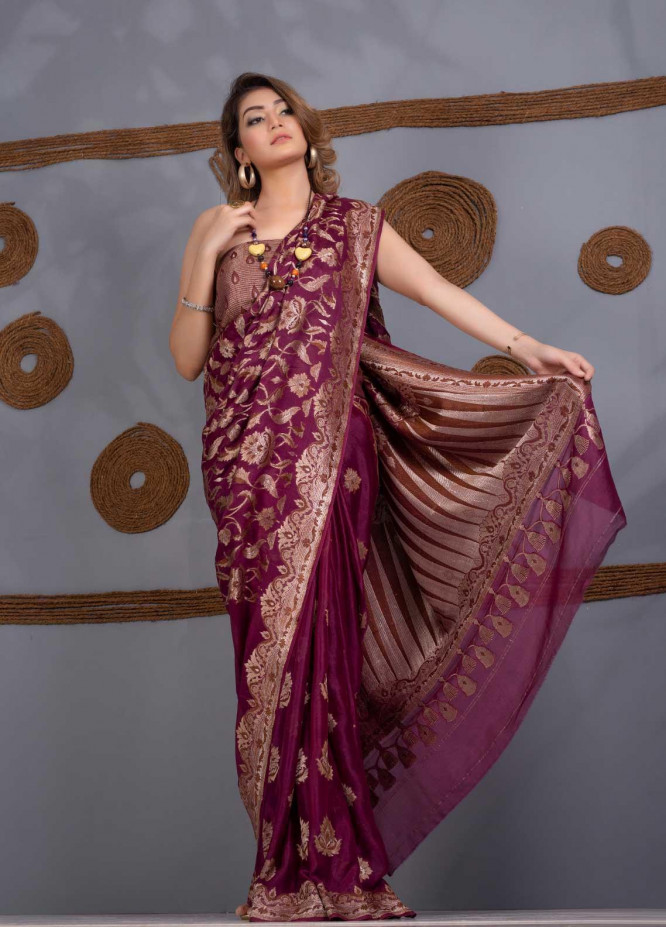 Al Rahim Banarsi Embroidered Chiffon Unstitched Saree AR21BP RC 1323 PLUM - Festive Collection