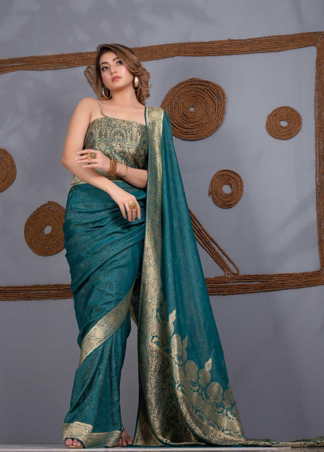 Al Rahim Banarsi Embroidered Chiffon Unstitched Saree AR21BP RC1224 - Festive Collection