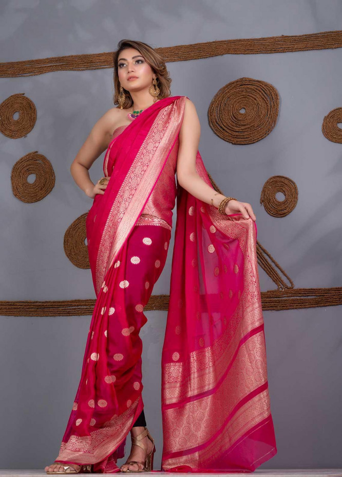 Al Rahim Banarsi Embroidered Chiffon Unstitched Saree AR21BP RC1335 Pink - Festive Collection