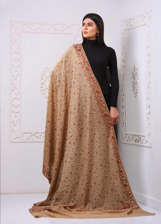 Sanaulla Exclusive Range Embroidered Premium Pashmina  Shawl PRMSH 323928 - Premium Pashmina Shawls