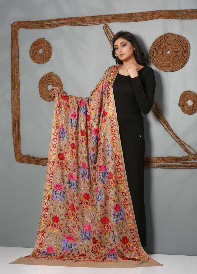 Sanaulla Exclusive Range Embroidered Pashmina  Shawl SU21PS 323811 - Pashmina Shawls