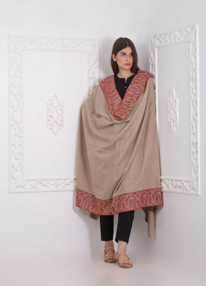Sanaulla Exclusive Range Embroidered Pashmina  Shawl AKP-04 Brown - Pashmina Shawls
