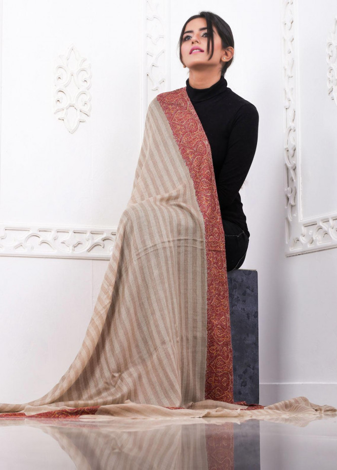 Sanaulla Exclusive Range Embroidered Pashmina  Shawl AKP-15 Brown - Pashmina Shawls
