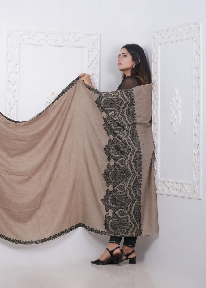 Sanaulla Exclusive Range Embroidered Pashmina  Shawl AKP-18 Brown - Pashmina Shawls