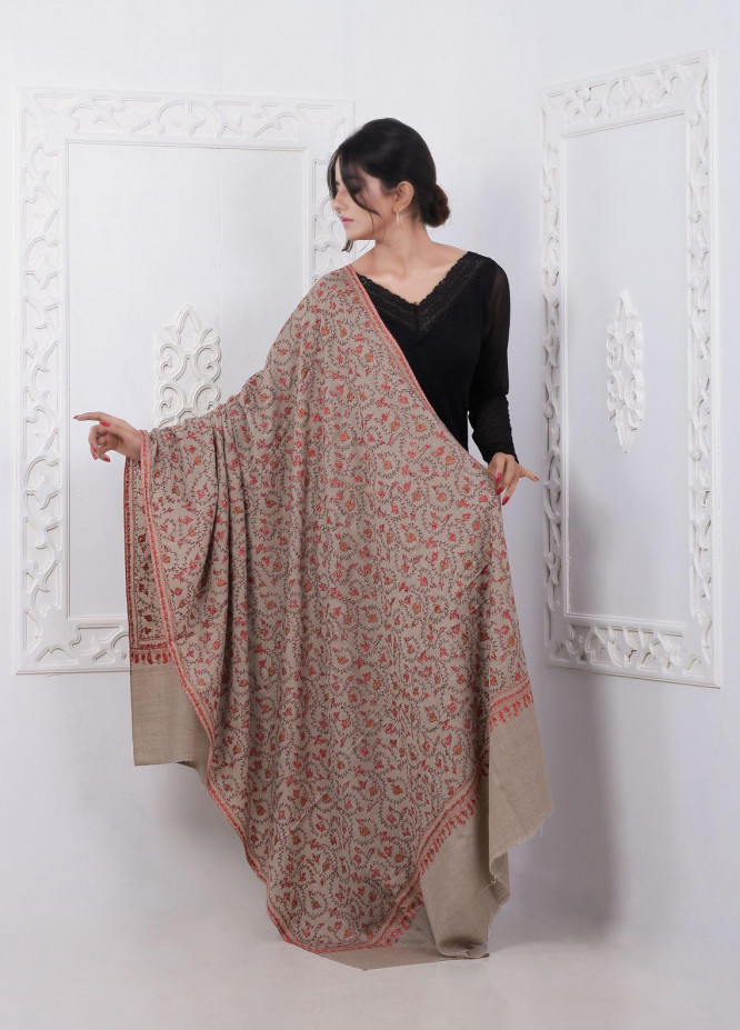 Sanaulla Exclusive Range Embroidered Pashmina  Shawl AKP-274 Fawn - Pashmina Shawls