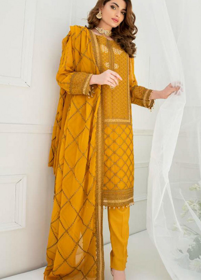 Pulchi by Qasimi Embroidered Chiffon Suits Unstitched 3 Piece QM21PL UNPL-06 - Formals Collection