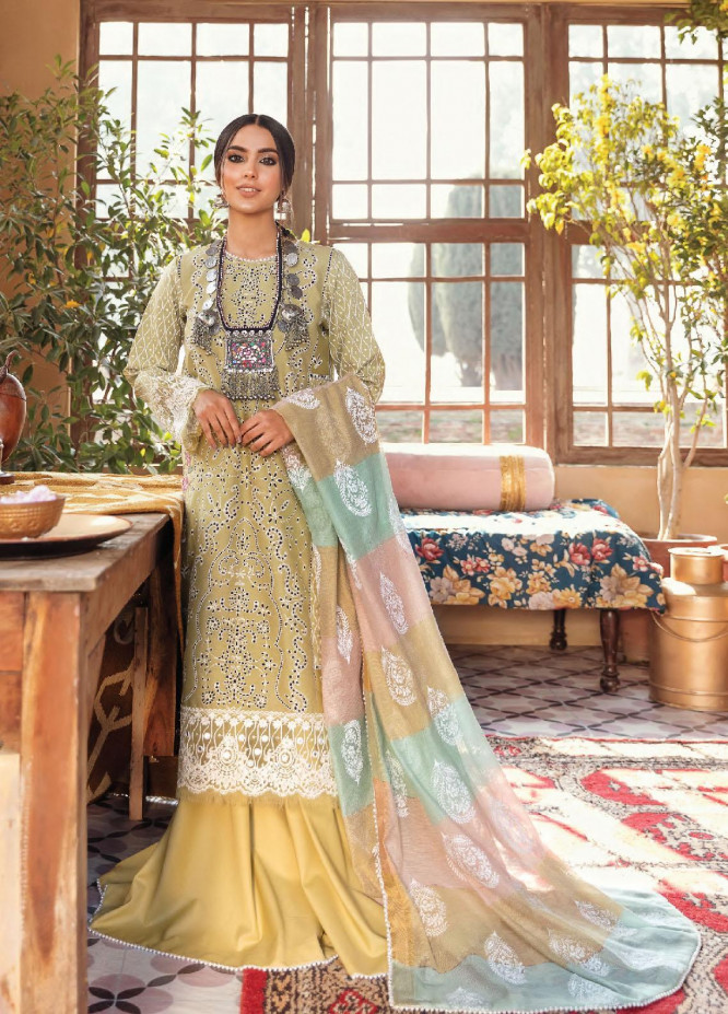 Dilara By Qalamkar Embroidered Lawn Suits Unstitched 3 Piece QLM21L 04 - Luxury Collection