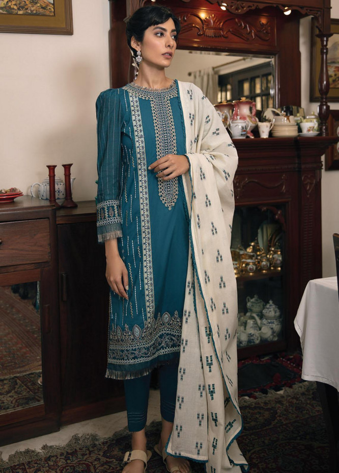 Qline By Qalamkar Embroidered Lawn Suits Unstitched 3 Piece QLM21Q 12 Shehnaz - Summer Collection