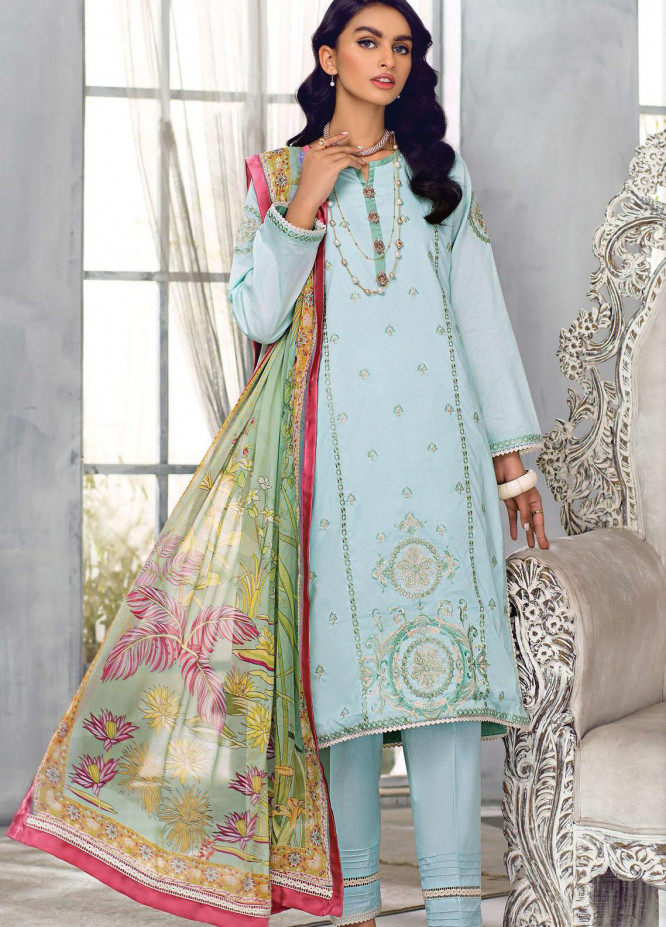Sehr by Raaya Embroidered Lawn Suits Unstitched 3 Piece RY21S 05 Summer Sky - Eid Collection