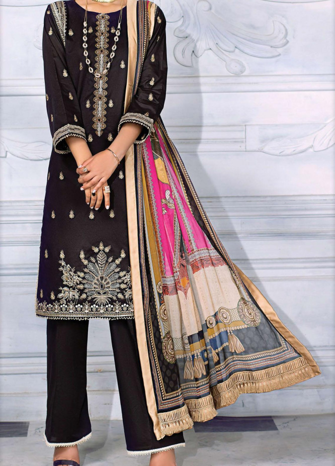 Sehr by Raaya Embroidered Lawn Suits Unstitched 3 Piece RY21S 06 Majestic Black - Eid Collection