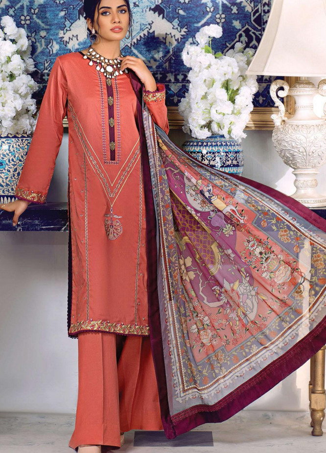 Sehr by Raaya Embroidered Lawn Suits Unstitched 3 Piece RY21S 13 Dust Rust - Eid Collection