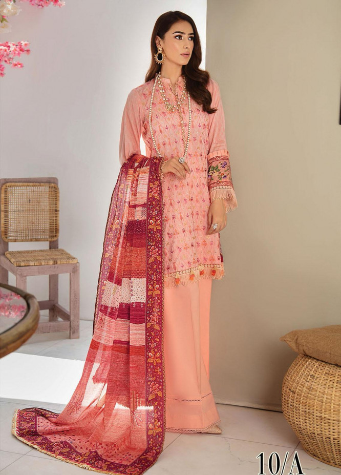 RajBari Embroidered Lawn Suits Unstitched 3 Piece RB21SS 10A - Spring / Summer Collection