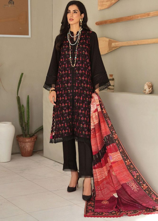RajBari Embroidered Lawn Suits Unstitched 3 Piece RB21SS 10B - Spring / Summer Collection