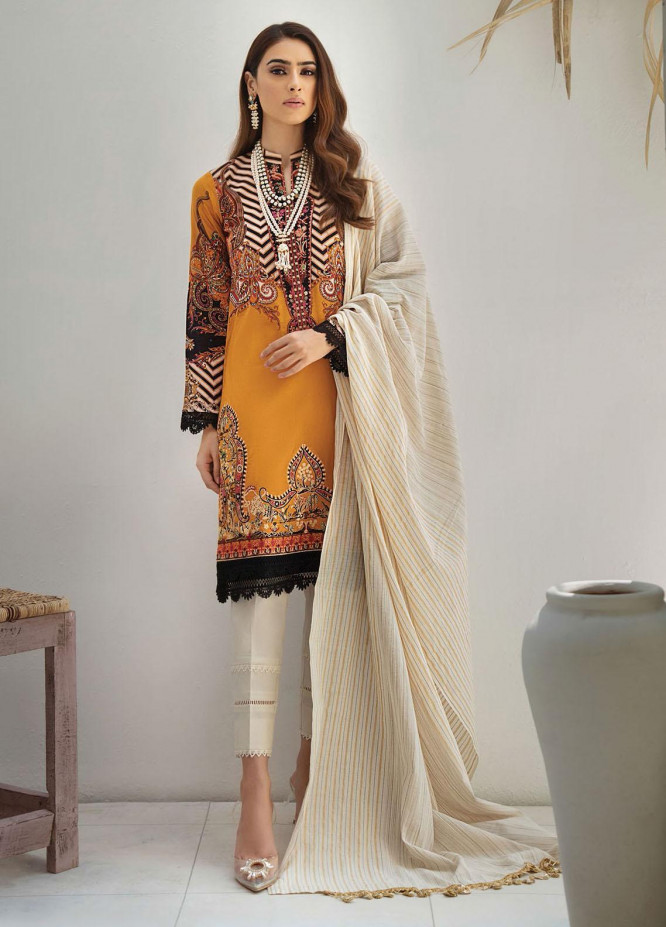 RajBari Embroidered Lawn Suits Unstitched 3 Piece RB21SS 1A - Spring / Summer Collection