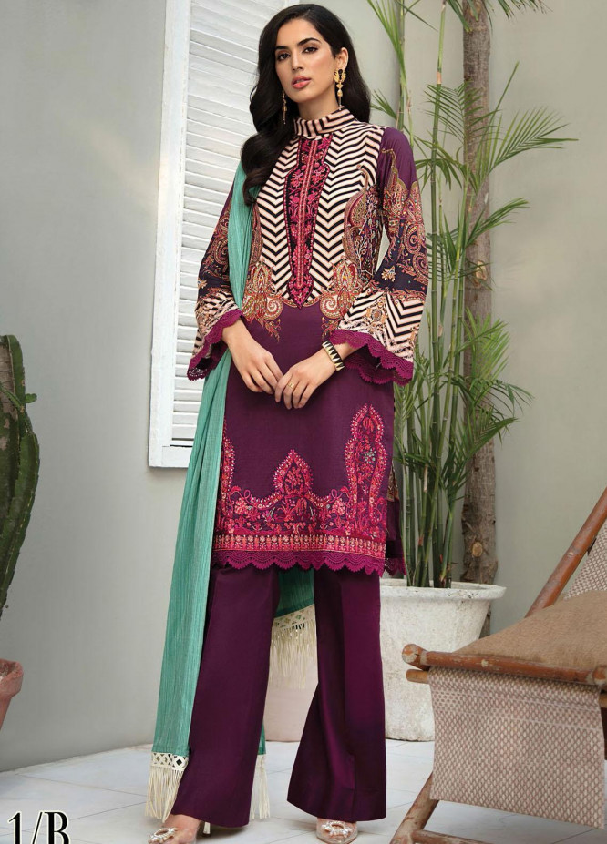 RajBari Embroidered Lawn Suits Unstitched 3 Piece RB21SS 1B - Spring / Summer Collection