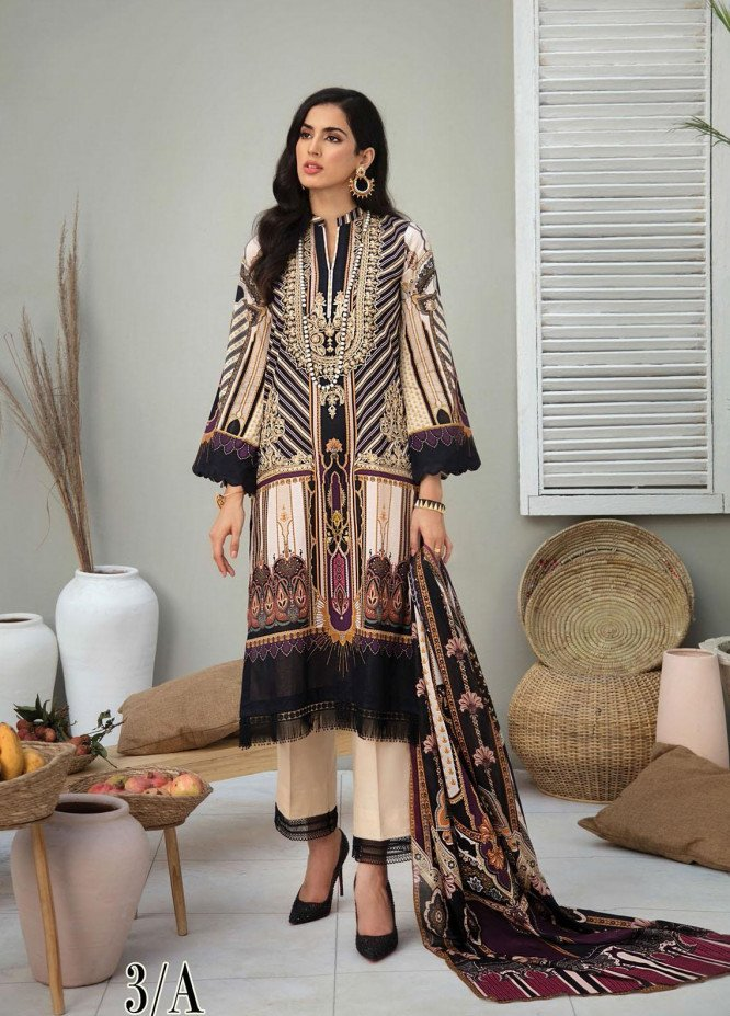 RajBari Embroidered Lawn Suits Unstitched 3 Piece RB21SS 3A - Spring / Summer Collection