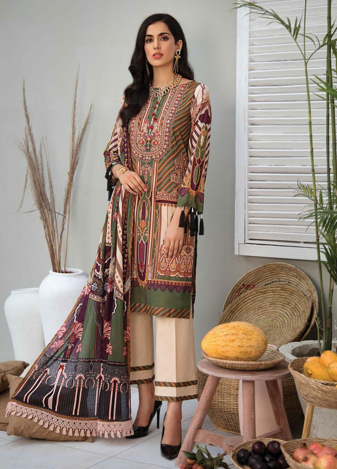 RajBari Embroidered Lawn Suits Unstitched 3 Piece RB21SS 3B - Spring / Summer Collection