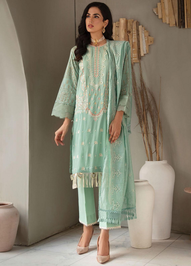 RajBari Embroidered Lawn Suits Unstitched 3 Piece RB21SS 4A - Spring / Summer Collection