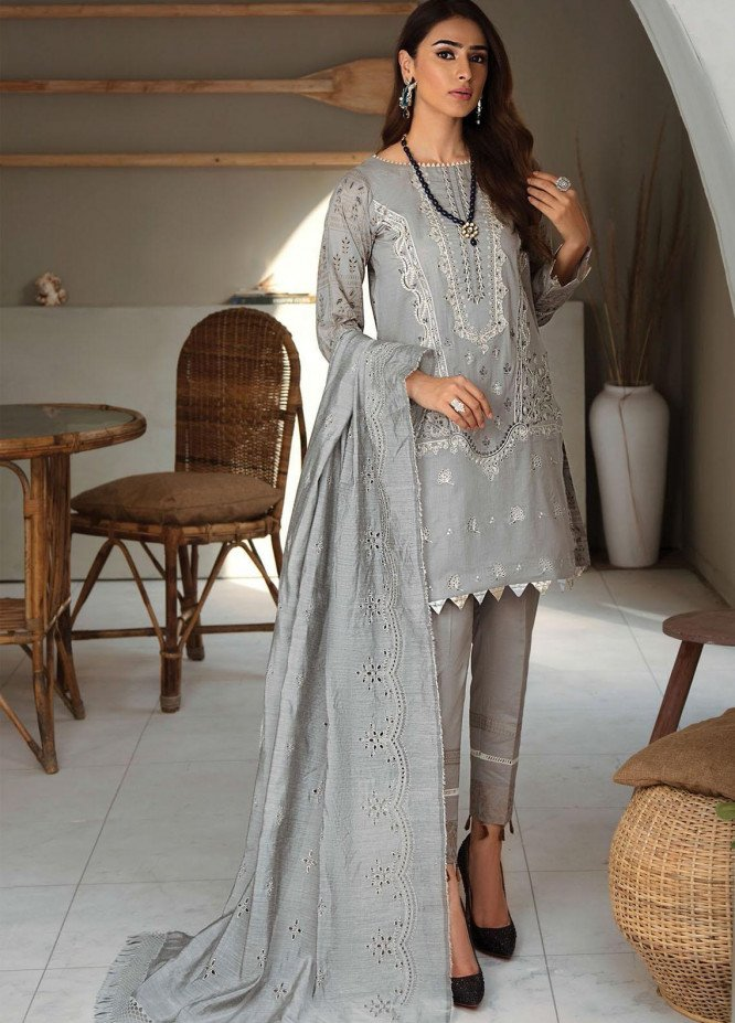 RajBari Embroidered Lawn Suits Unstitched 3 Piece RB21SS 4B - Spring / Summer Collection