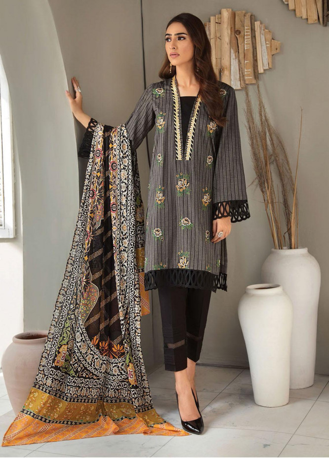 RajBari Embroidered Lawn Suits Unstitched 3 Piece RB21SS 6A - Spring / Summer Collection