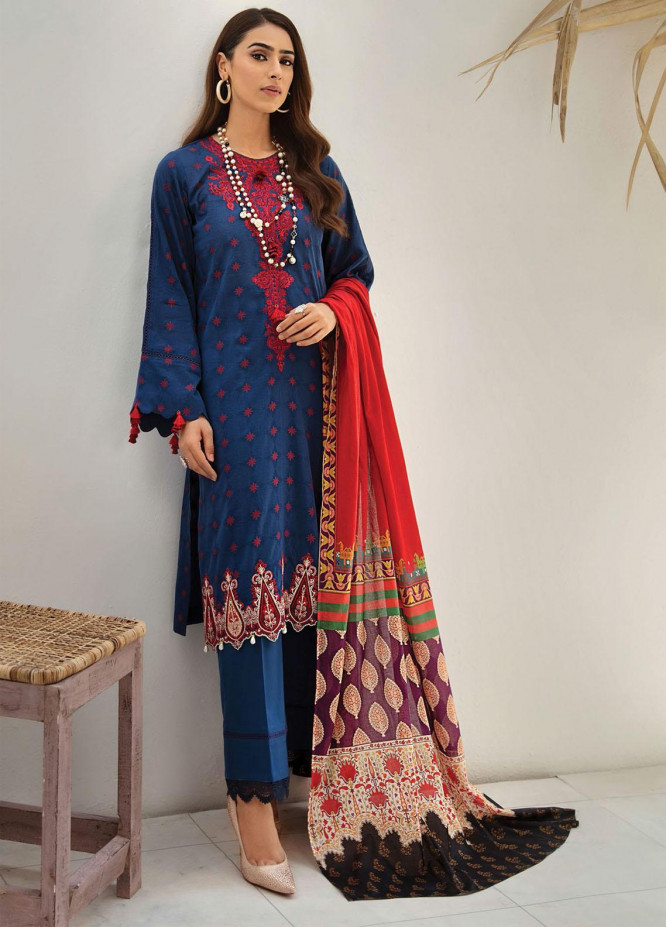 RajBari Embroidered Lawn Suits Unstitched 3 Piece RB21SS 8A - Spring / Summer Collection