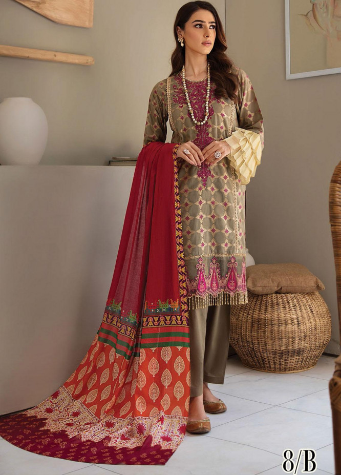 RajBari Embroidered Lawn Suits Unstitched 3 Piece RB21SS 8B - Spring / Summer Collection