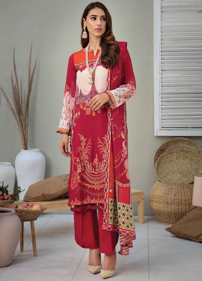RajBari Embroidered Lawn Suits Unstitched 3 Piece RB21SS 9B - Spring / Summer Collection