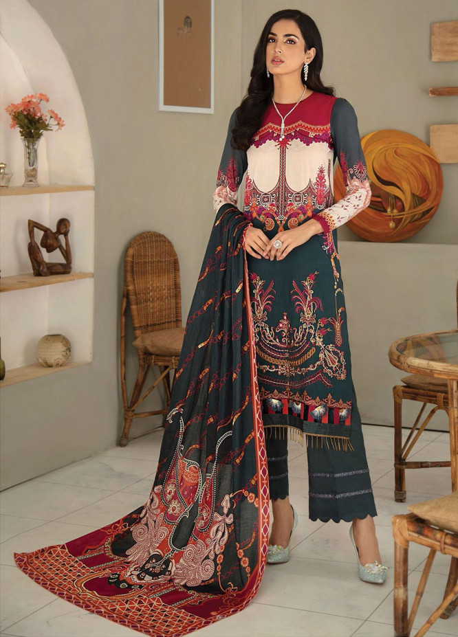 RajBari Embroidered Lawn Suits Unstitched 3 Piece RB21SS 9A - Spring / Summer Collection