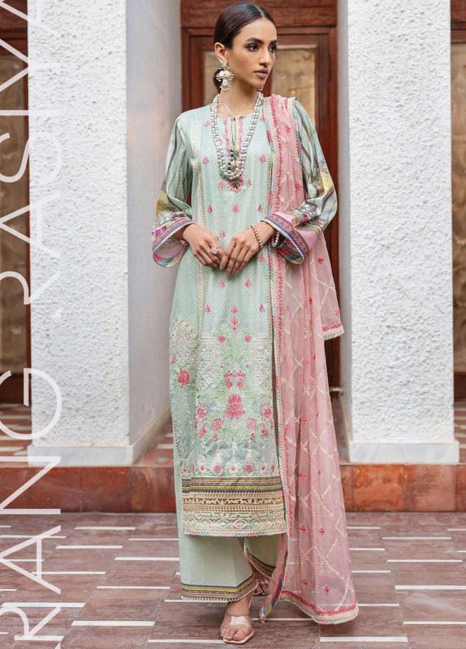 Florence By Rang Rasiya Embroidered Lawn Suits Unstitched 3 Piece RR21FF 02 Meena - Festive Collection