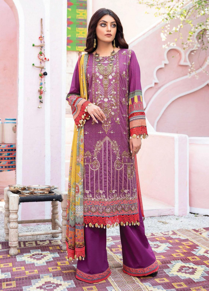 Florence Meherbano By Rang Rasiya Embroidered Lawn Suits Unstitched 3 Piece RR21FM 04 Rajagi - Spring / Summer Collection