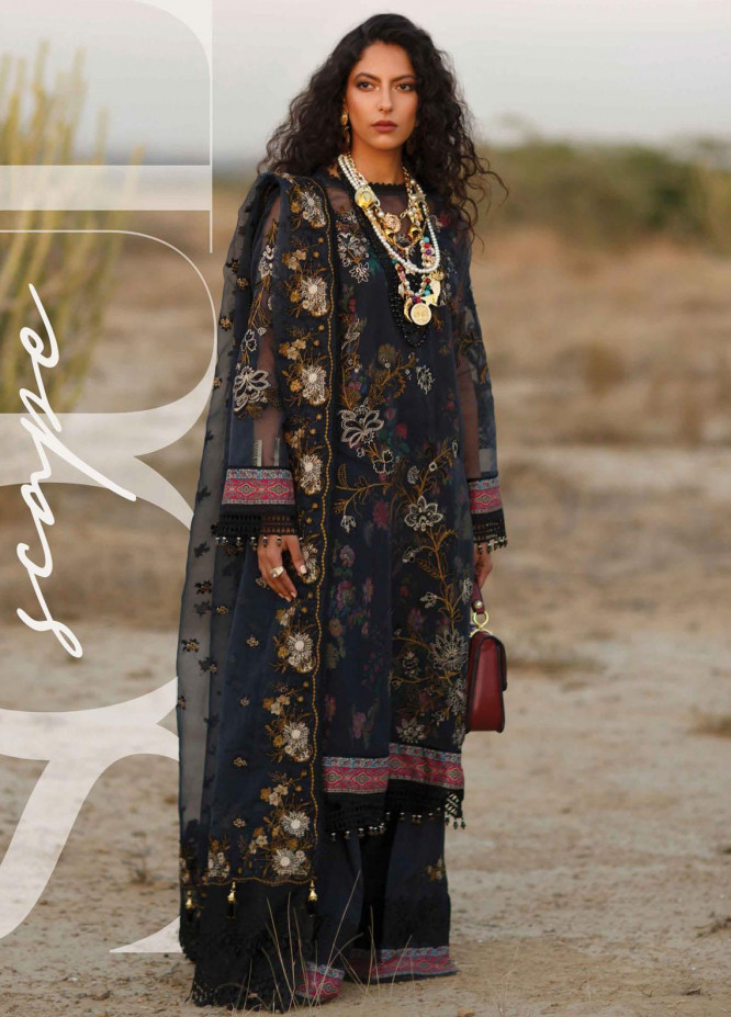 The Soul Saga By Rang Rasiya Embroidered Organza Suits Unstitched 3 Piece RR21SS 03 Noirel - Premium Collection
