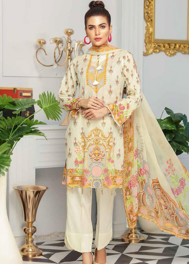 Range by Sanam Saeed Embroidered Lawn Unstitched 3 Piece Suit SS20R D-07 - Festive Collection