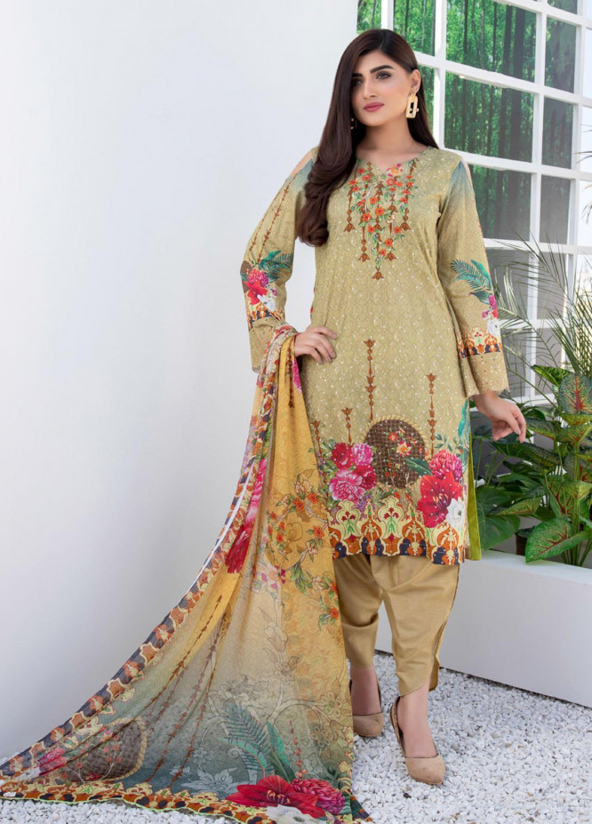 Regalia Textiles Embroidered Lawn Suits Unstitched 3 Piece RG21FE D-01 - Summer Collection