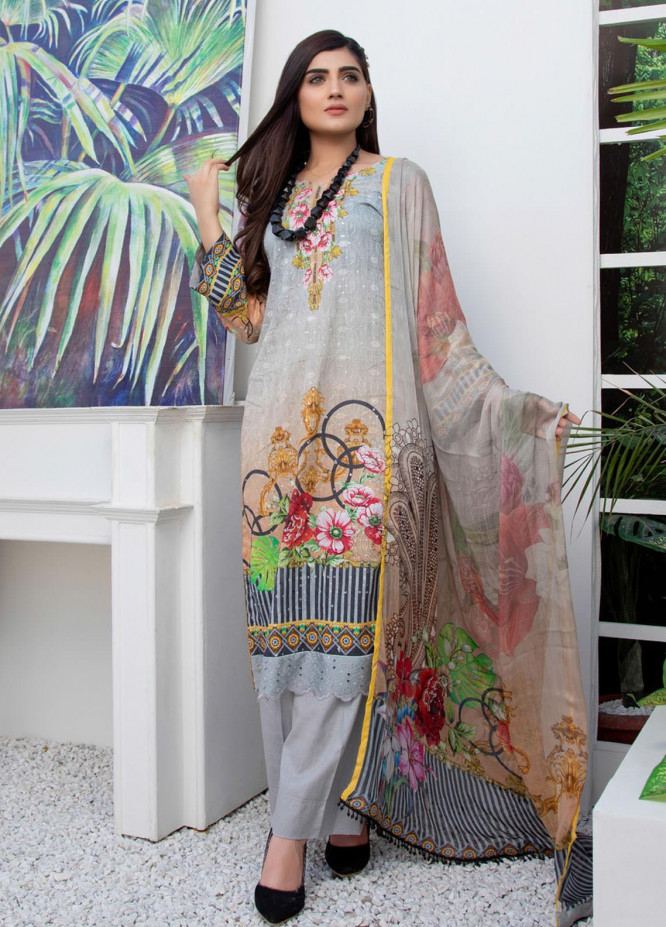Regalia Textiles Embroidered Lawn Suits Unstitched 3 Piece RG21FE D-05 - Summer Collection