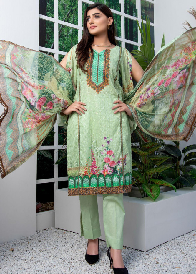 Regalia Textiles Embroidered Lawn Suits Unstitched 3 Piece RG21FE D-07 - Summer Collection