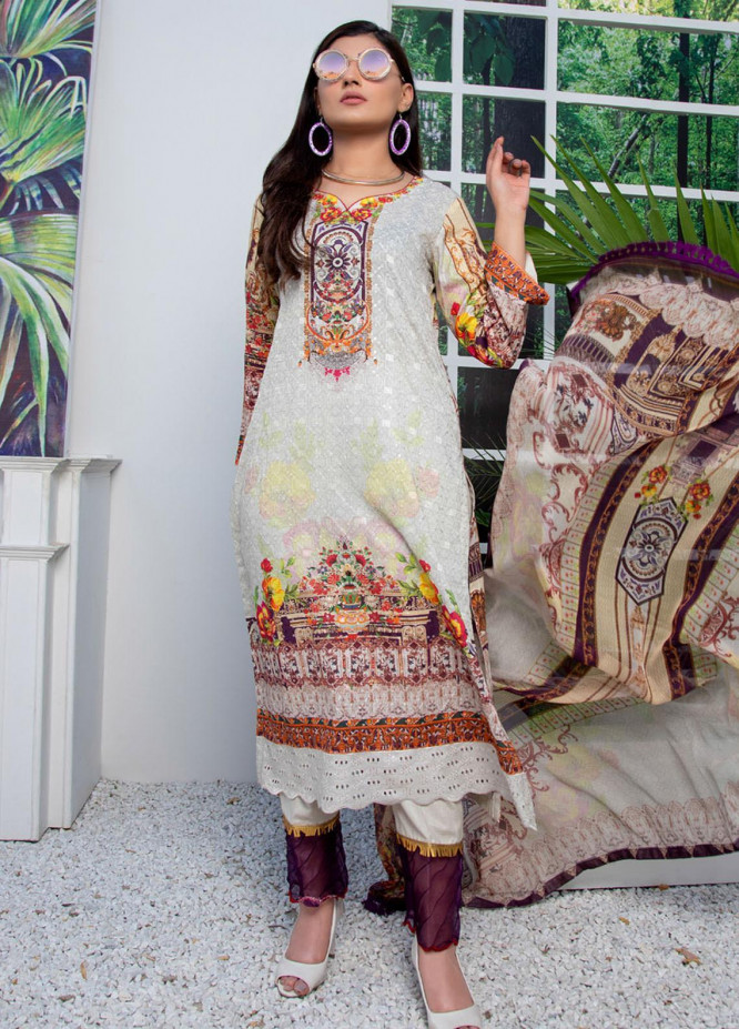 Regalia Textiles Embroidered Lawn Suits Unstitched 3 Piece RG21FE D-08 - Summer Collection