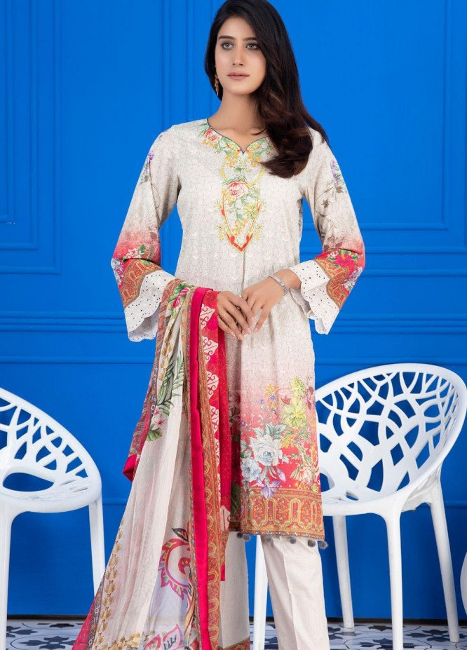 Regalia Textiles Embroidered Lawn Suits Unstitched 3 Piece RG21FE D-09 - Summer Collection