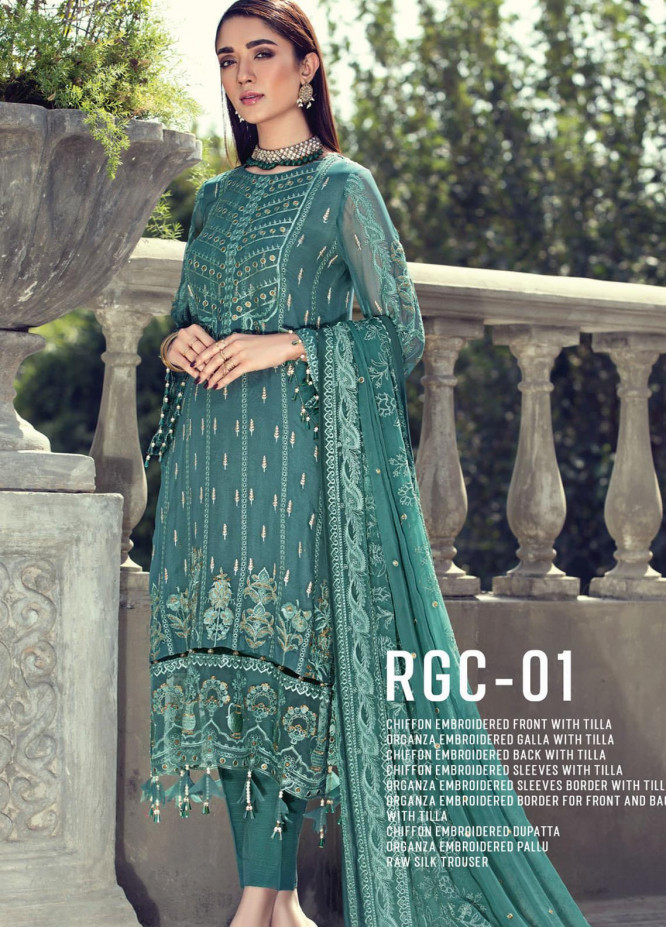 Resham Ghar Embroidered Chiffon Unstitched 3 Piece Suit RG20-C2 01 - Luxury Collection
