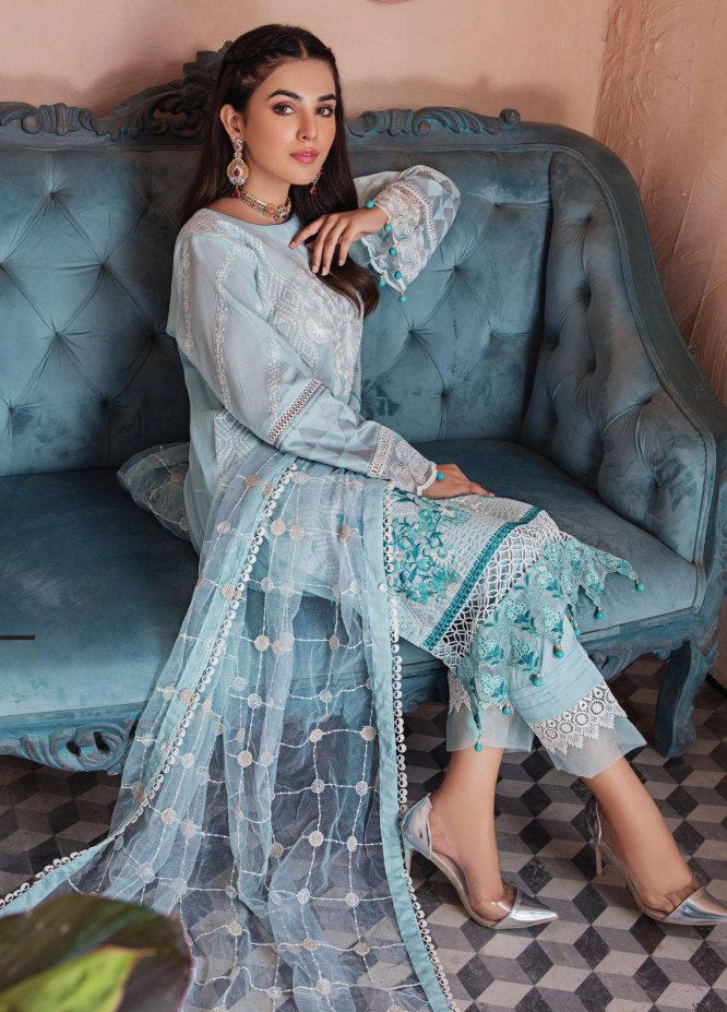 Resham Ghar Embroidered Lawn Suits Unstitched 3 Piece RG21L-2 RGS-02 - Luxury Collection