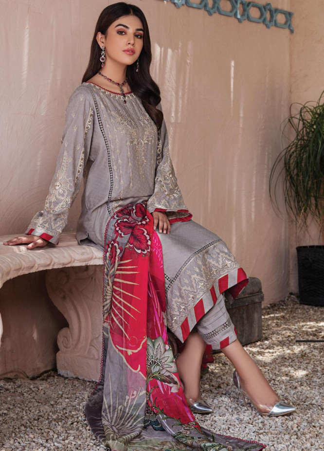 Resham Ghar Embroidered Lawn Suits Unstitched 3 Piece RG21L-2 RGS-05 - Luxury Collection