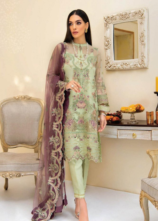 Reveuse By AIK Atelier Embroidered Organza Suits Unstitched 3 Piece AIK21R 03 - Luxury Collection