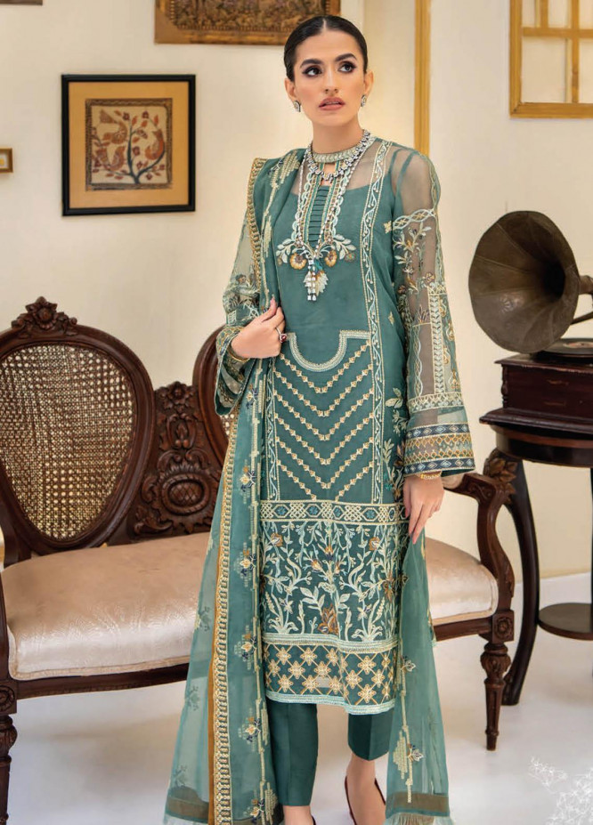 Reveuse By AIK Atelier Embroidered Organza Suits Unstitched 3 Piece AIK21R 05 - Luxury Collection