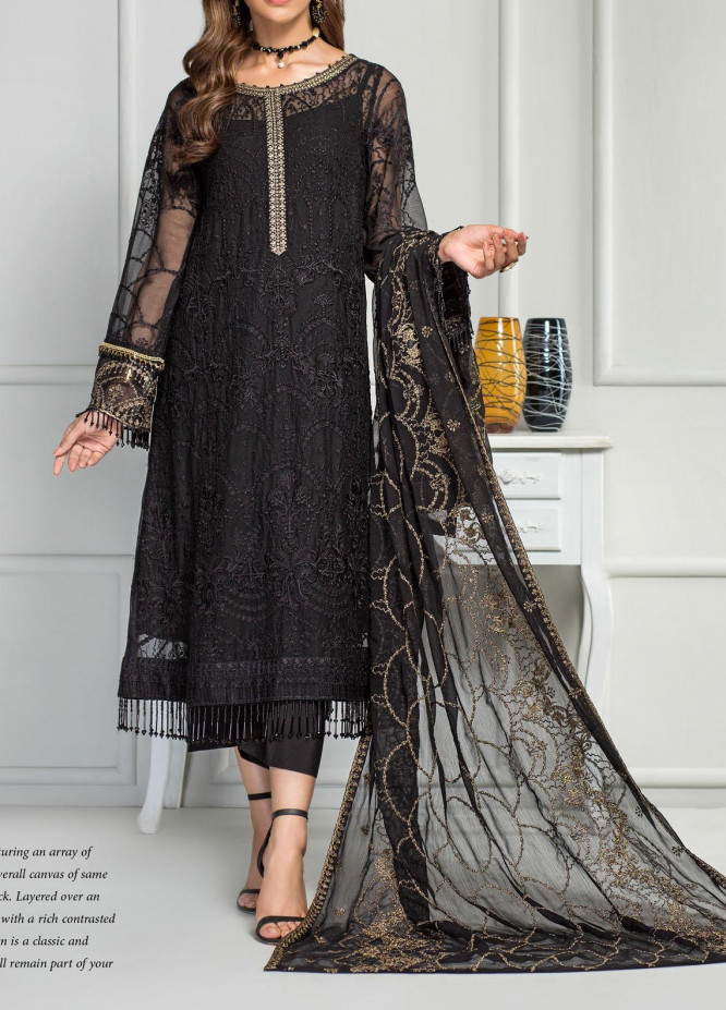 Reveuse Le Tresor by Zarif Embroidered Chiffon Unstitched 3 Piece Suit ZF20RT 12 CHARCOAL - Luxury Collection
