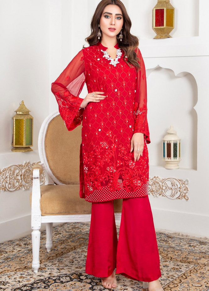 Lush Embroidered Chiffon Stitched Shirt 01 Candy Apple