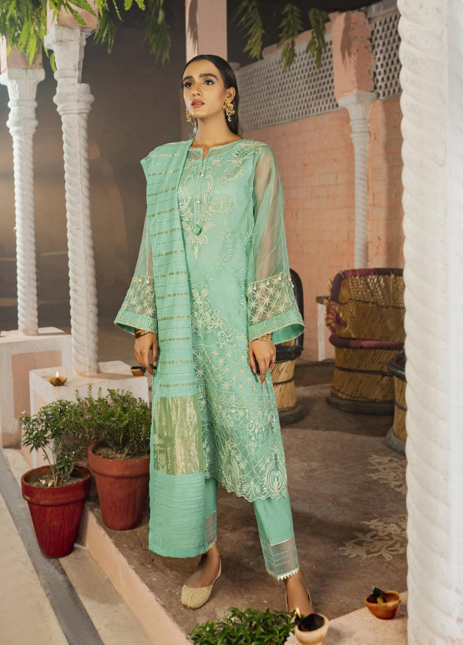 Riwaj by Nuriyaa Embroidered Organza Suits Unstitched 3 Piece NR21R BAAG-E-KOYAL - Luxury Collection