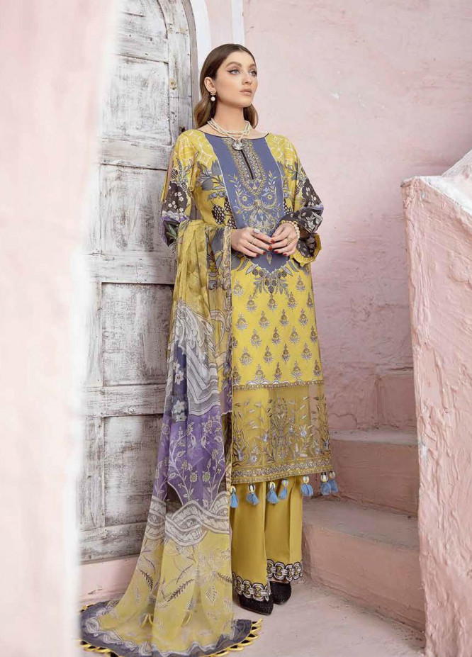 Riwayat by Ramsha Embroidered Lawn Suits Unstitched 3 Piece RSH21R 104 - Luxury Collection